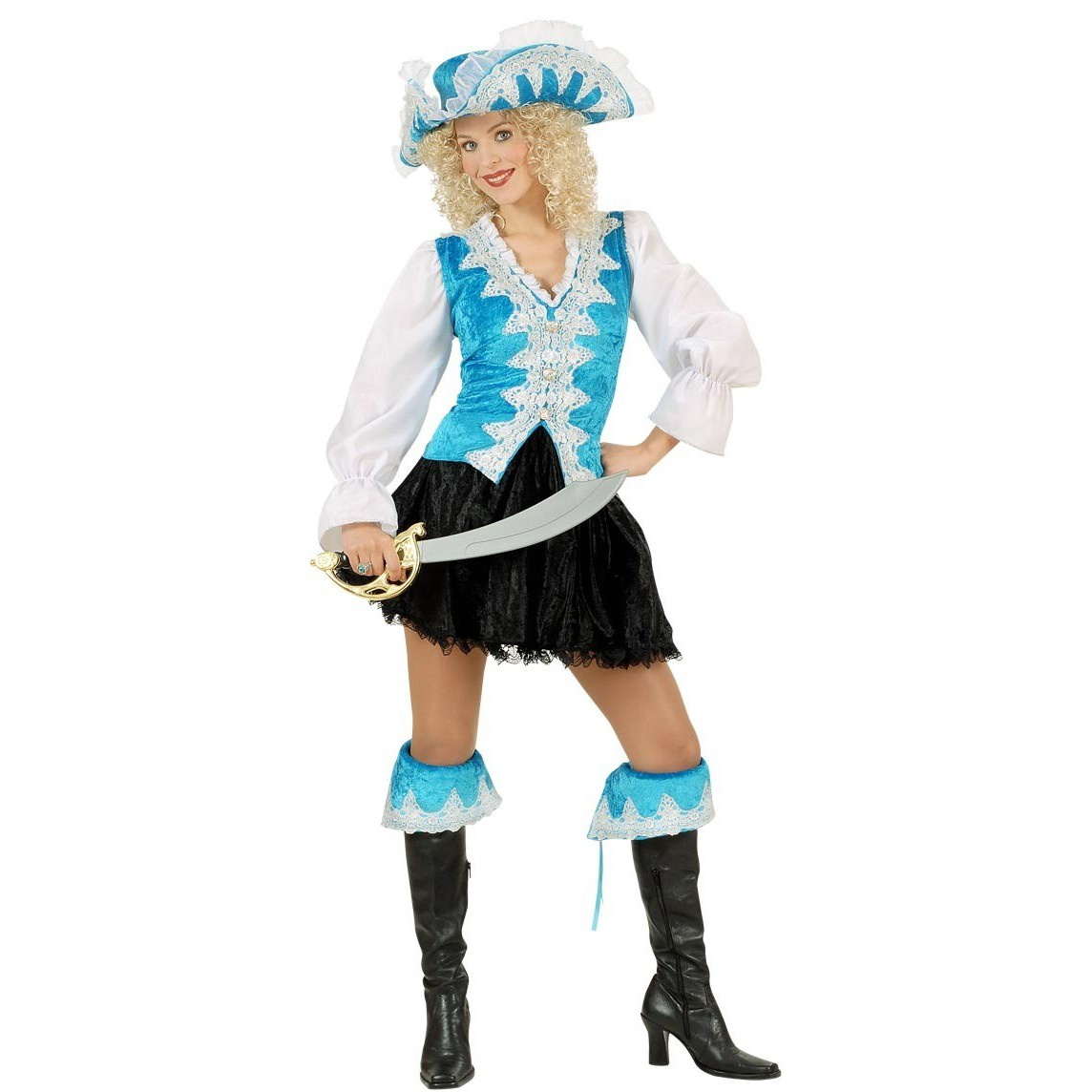 Barock Piraten Lady Kostüm blau