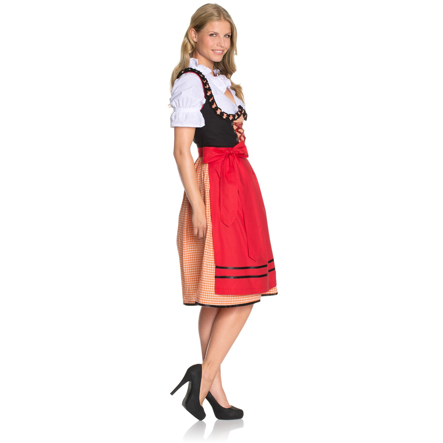 dirndl fritzi orange rot schwarz kariert. Black Bedroom Furniture Sets. Home Design Ideas