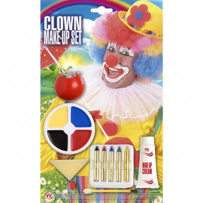 Clown Make-Up Set 6-teilig mit Nase