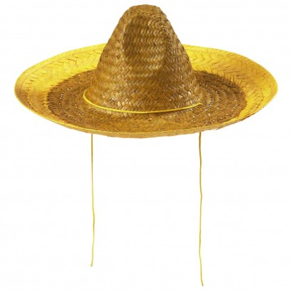 Party Sombrero Strohhut gelb 48cm