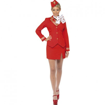 Red Airline Stewardess Kostüm 1