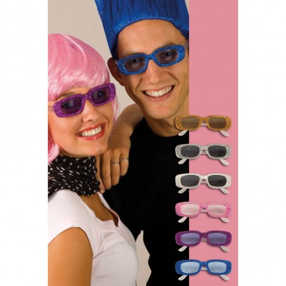 Glitter Partybrille oval in 6 Farben