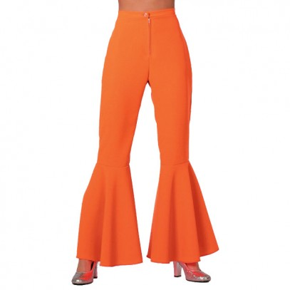Neon-Orange Schlaghose Bi-Stretch