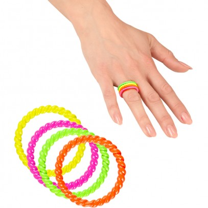80er Neon Ring-Set bunt 1