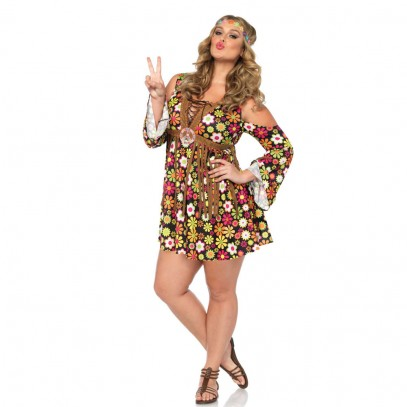 Plus Size Hippie Girl Damenkostüm Deluxe