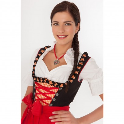 Midi Dirndl Lotta orange-rot-kariert 1