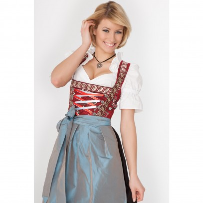 Langes Dirndl Lea blau-rot-chanchierend 1