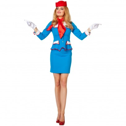 Blue Airline Retro Stewardess Kostüm 1