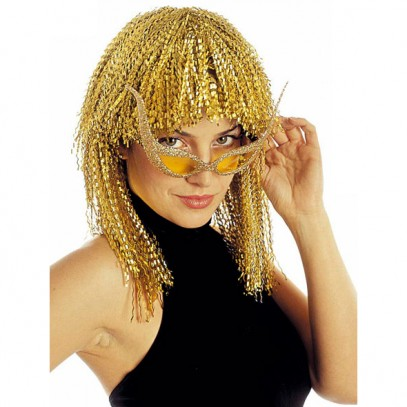 Jeanie Disco Party Perücke gold für Damen
