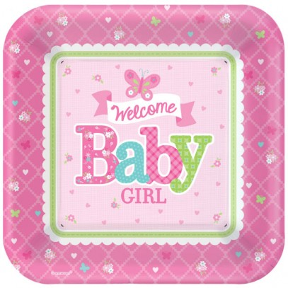 Welcome Baby Girl Party Teller 18cm