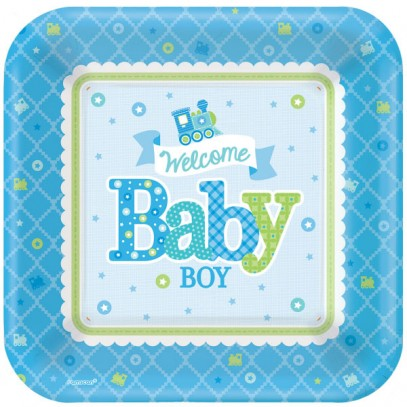 Welcome Baby Boy Party Teller 18cm
