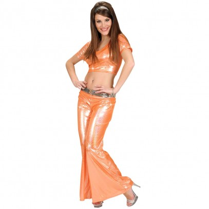Orange Disco-Hose mit Glitzereffekt