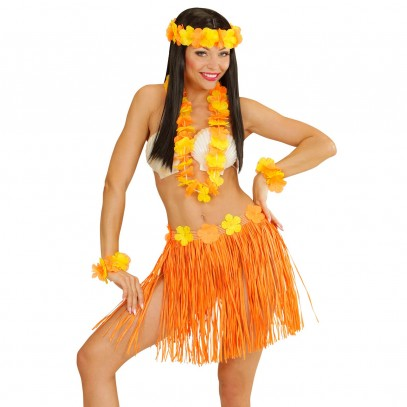 Hawaii Girl Kostüm-Set orange 1