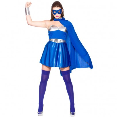 Hot Superhero Damenkostüm blau