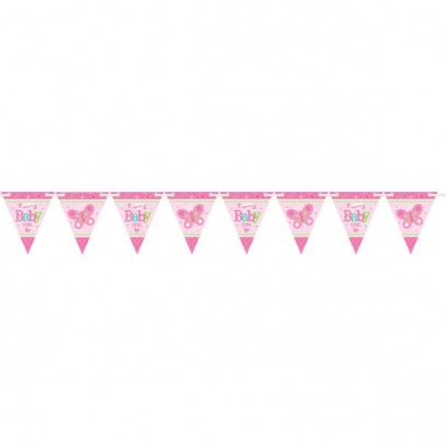 Welcome Baby Girl Party Wimpelkette 450cm