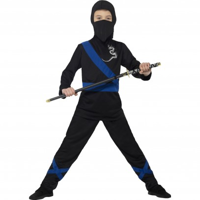 Ninja Dragon Fighter Kinderkostüm schwarz-blau