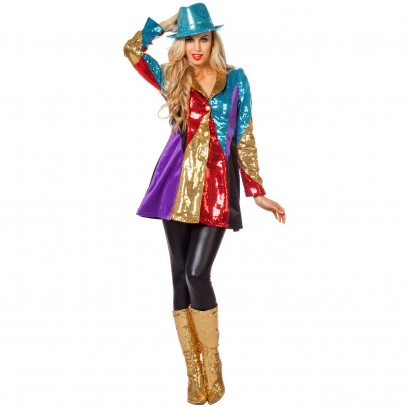 Regenbogen Disco Party Pailletten-Jacke 1