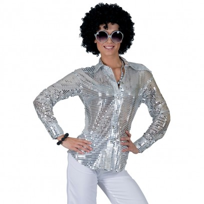 Saturday Night Disco Bluse silber