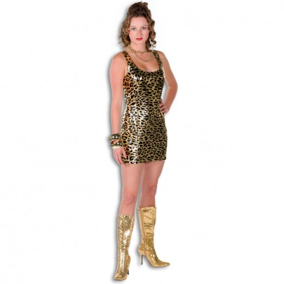 Disco Tiger Kleid Deluxe gold