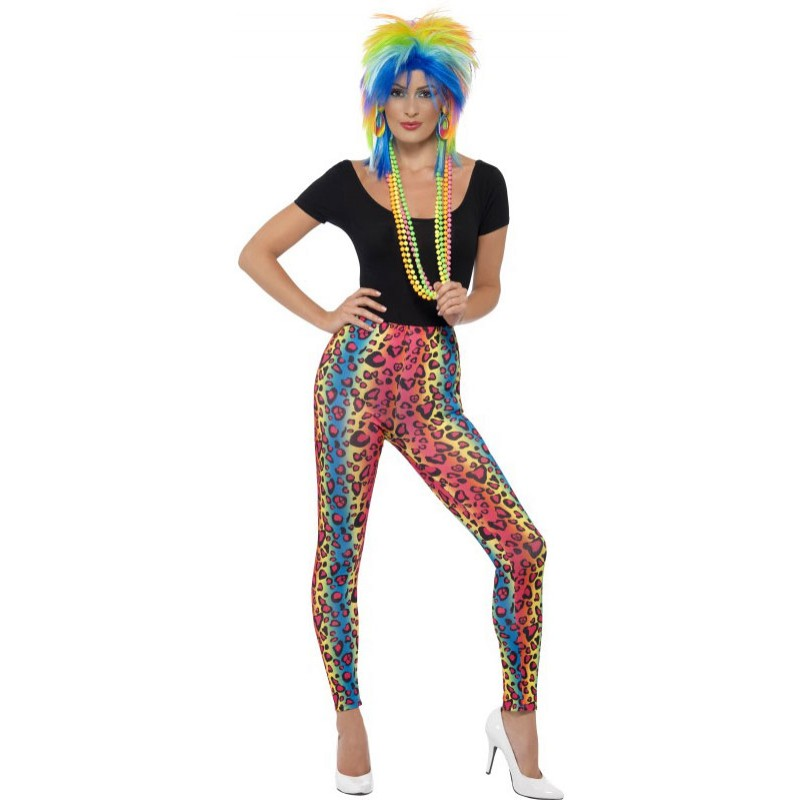 80er neon leopard party leggings for Ideen bad taste party outfit