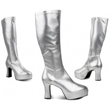 Sixties Plateaustiefel silber