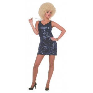 Disco Paillettenkleid in blau