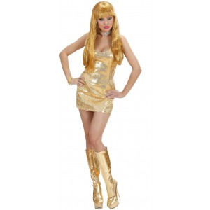 Sexy Disco Fever Paillettenkleid goldfarben