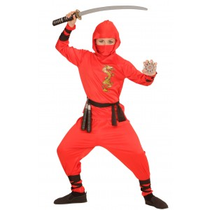 Red Ninja Fighter Kostüm für Kinder