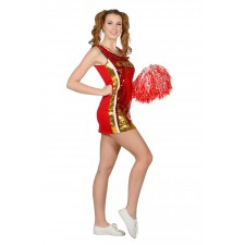 Funky Cheerleader Paillettenkleid Rot-Gold