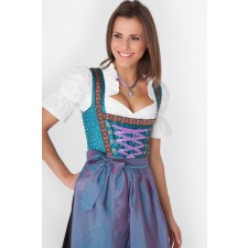 Langes Dirndl Isa schwarz-blau-chanchierend 2