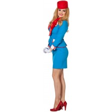 Blue Airline Retro Stewardess Kostüm 2