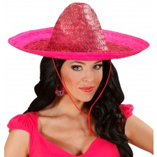 Party Sombrero Strohhut pink 48cm